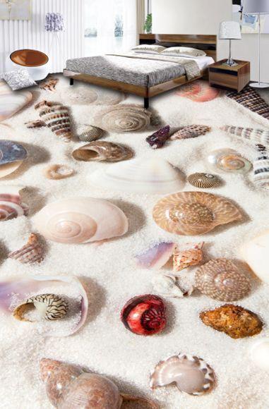 Arena shell de playa 3D 496 Papel Pintado Mural Parojo Calcomanía de impresión de piso 5D AJ Wallpaper