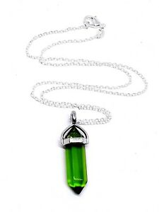 Gaia-Stone-Helenite-Point-Pendant-Healing-Chakra-18-Inch-Necklace-Rare-UK-Seller