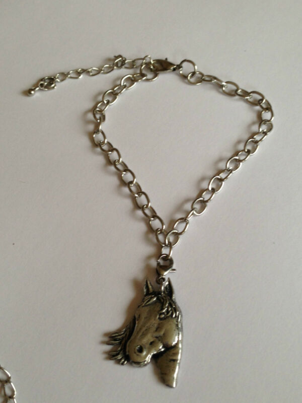 A1 Horse's Head English Pewter Anklet / Bracelet Handmade In Sheffield Charm