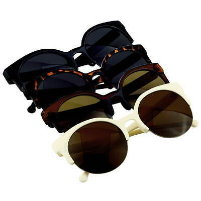 Hot Women's Lady Classic Retro Half Frame Round Tea Shade Lens Sunglasses  OE