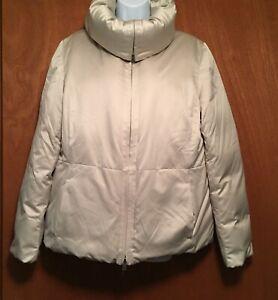 ANN TAYLOR Puffer Jacket Goose Down Feather Coat Full Zip Size L Pocket Beige