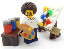 """NEW LEGO """"PUBLIC T.V. ARTIST"""" MINIFIG afro figure minifigure paint painter"""