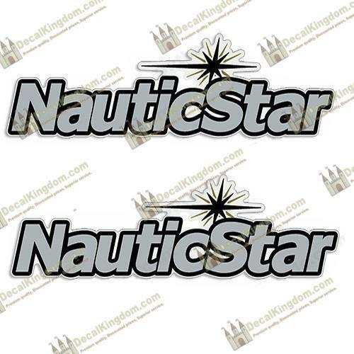 NAUTICSTAR BOAT LOGO DECAL SILVER SET OF 2