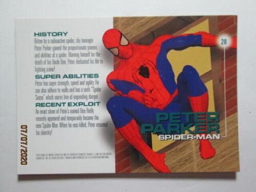 Details about  /1996 MARVEL MOTION SPIDER-MAN PETER PARKER BASE CARD - 28