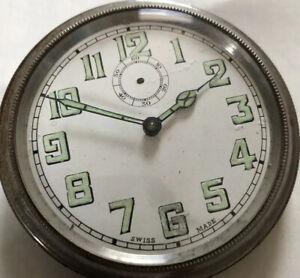 VINTAGE SWISS OVERSIZED POCKET WATCH Car Clock Mechanical Manual Wind Luminous