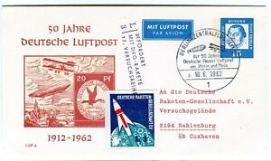 1962 50 Jahre Deutsche Luftpost Befordert Drg-rakete Versuchsreihe Sahlenburg Grandes VariéTéS