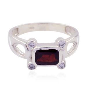 schoene-Edelstein-Octogon-facettierten-Granat-Ring-Sterling-Silber-rot-Granat-DE