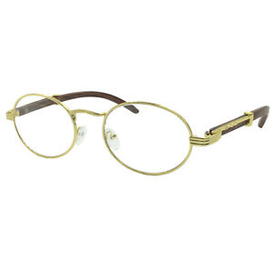 afd8323837e0 Image is loading Vintage-Wood-Buffs-Fashion-Eyeglasses-Oval-Frame-Clear-