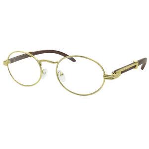 b5dfd56702 Image is loading Vintage-Wood-Buffs-Fashion-Eyeglasses-Oval-Frame-Clear-