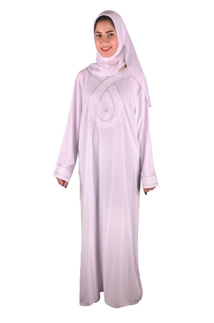 Dubai Abaya im Islamischen Stil Festkleid mit Schleier in weiß-  ABY00352