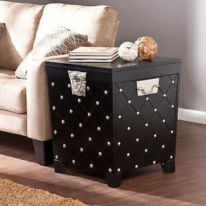Details About Hope Chest Storage Trunk Black Antique End Table Small Box For Quilts Blanket
