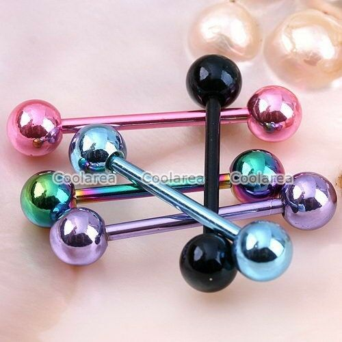 1pc 14g Stainless Steel Tongue Ring Ball Top Barbell Bar Body Piercing 30mm Punk