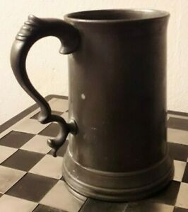 Antique-James-Dixon-amp-Sons-Pewter-Glass-Bottom-1-Pint-Tankard-c-1870-VGC-HEAVY