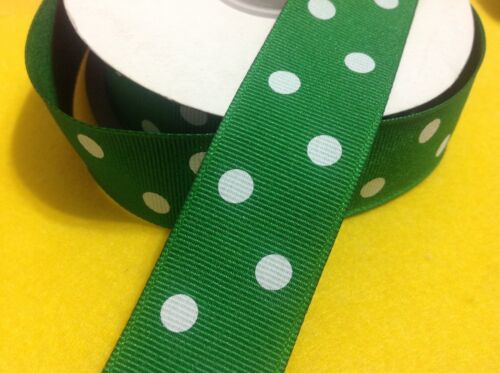 Green Polka Doted Grosgrain Ribbon Good For Easter 25mm x 3mtrs