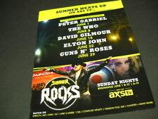 AXS TV 2014 Promo Poster Ad GUNS N ROSES Elton John THE WHO David Gilmour