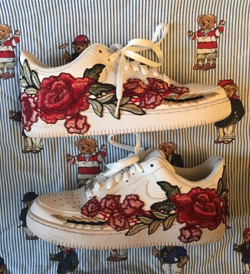 "NIKE AIR FORCE 1 ""FLORAL"" '07 LOW MEN'S SNEAKERS WHITE 315122-111"
