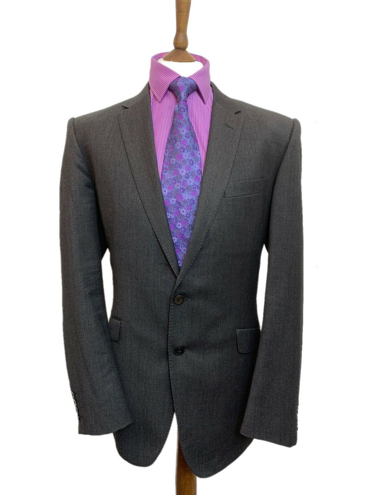 MARKS & SPENCER 44 LONG GREY TAILORED FIT WOOL RICH SUIT W38 L30