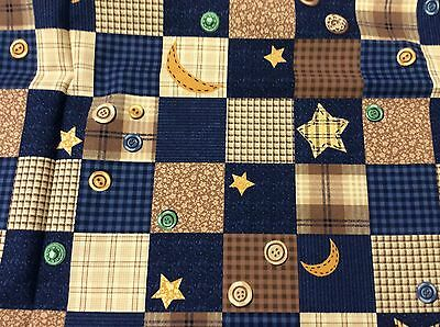 BLUE & BROWN BLOCKS WITH BUTTONS BY THE CRANSTON COLLECTION  - BY THE YARD