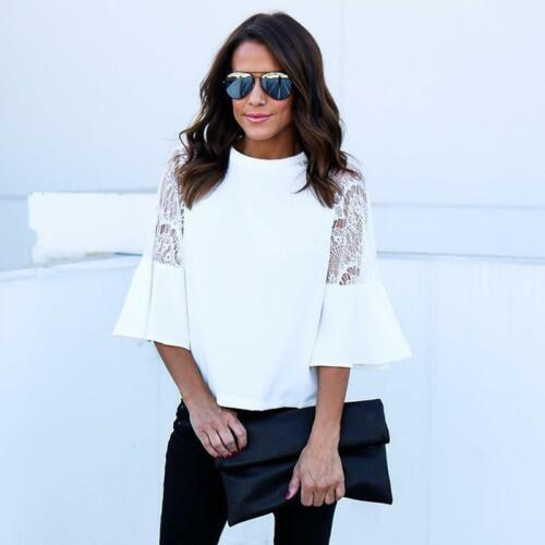 Women 3//4 Sleeve Casual Shirts Top Lace Crochet Loose Blouse Top LA