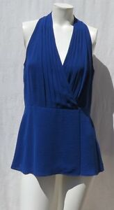 59ba7cd9ae4 BANANA REPUBLIC Women's Royal Blue Chiffon Career Blouse Tunic Top ...