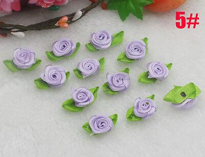 NEW 30PCS Purple Satin Ribbon Rose Rosebud Flower Leaves Applique Dress Craft