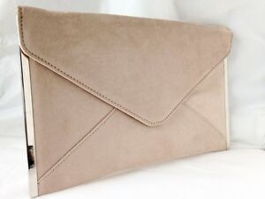 cc2a855b30 NEW BEIGE NUDE FAUX SUEDE EVENING DAY CLUTCH BAG ENVELOPE ROYAL NAVY ...