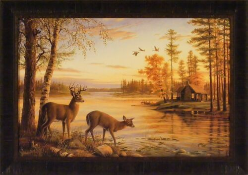QUIET EVENING by Mary Pettis 24x34 FRAMED PRINT PICTURE Deer Buck Doe Lake Cabin