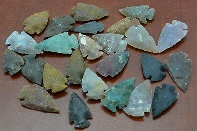 "50 PCS ASSORT AGATE STONE SPEAR POINT ARROWHEAD 1"" - 1 1/2"" #T-1"