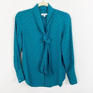 NEW Equipment Femme Luis Teal Blue Polka Dot Blouse Size XXS Tie Neck Long Slvs