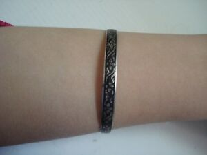 Lovely-Gift-Vtg-Antique-SIAM-Sterling-Silver-Enamel-6-5-034-Bangle-Bracelet-Free-SH