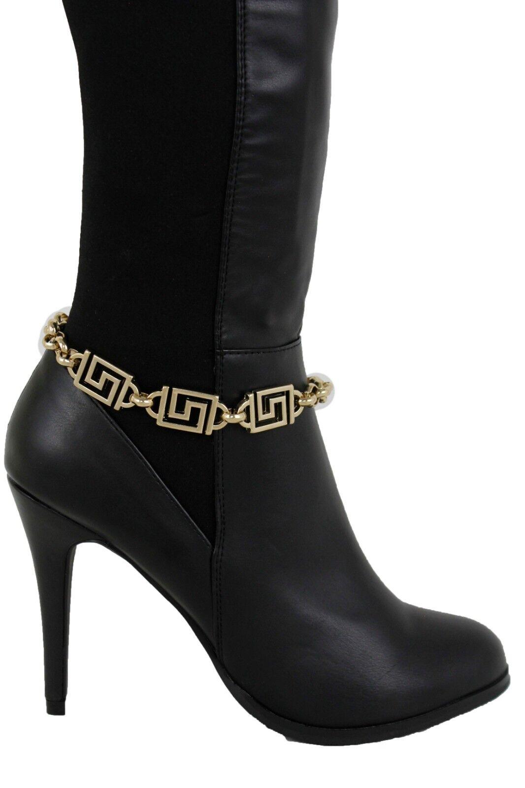 Women Gold Metal Chain Boot Bracelet Shoe 90's Style Bling Geometric L Charms