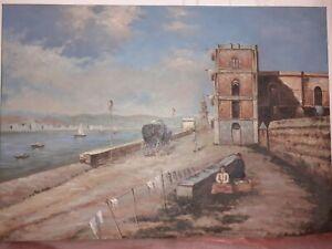 Quadro-paesaggio-Dipinto-A-Mano-Olio-Su-Tela-unico-50x70-Compreso-Telaio-Legno