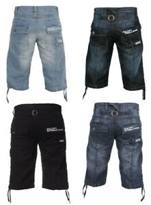 BNWT-Da-Uomo-Enzo-Di-Marca-Nero-Denim-Blu-Scuro-Estate-Pantaloncini-Outdoor