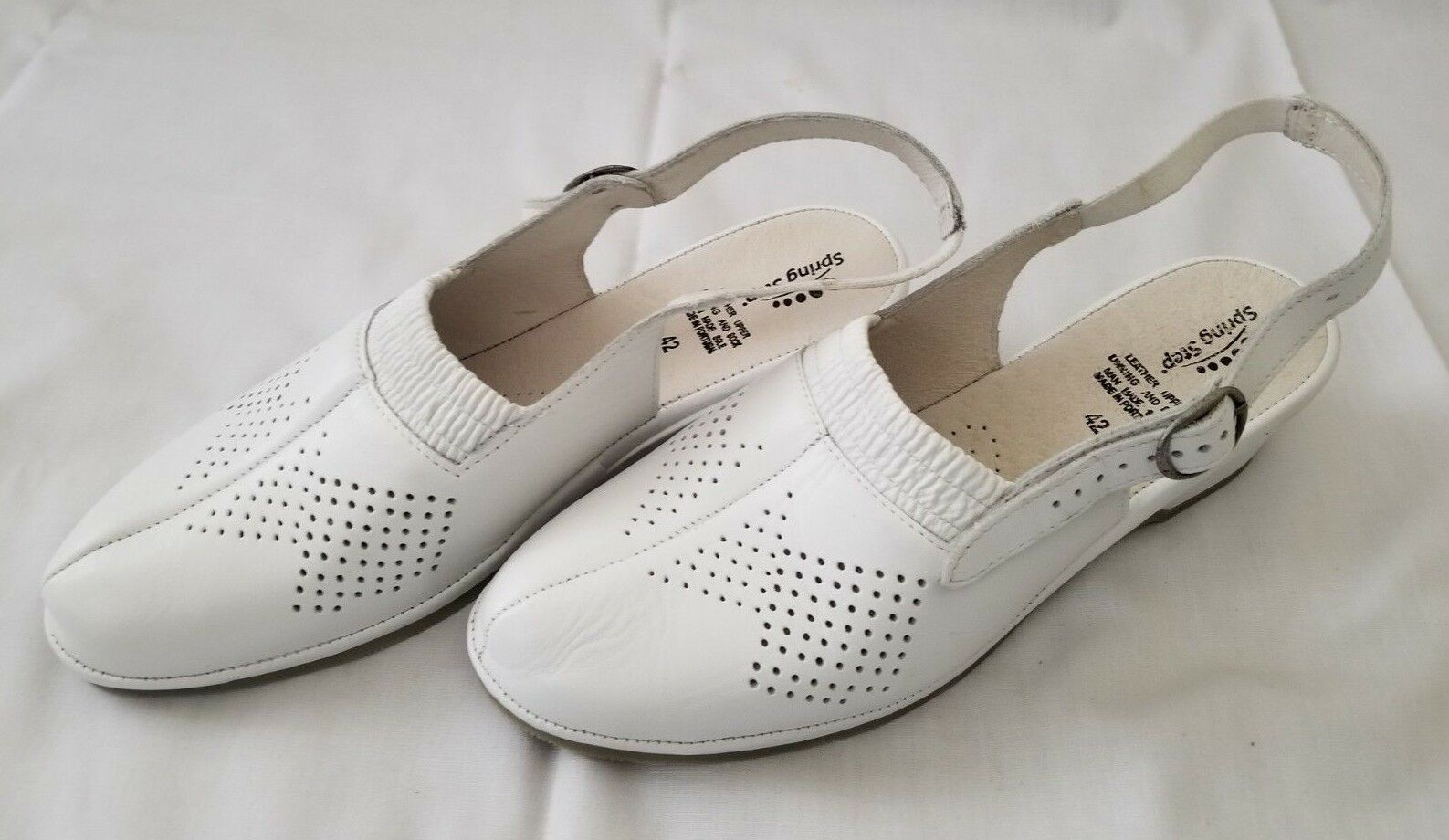 Womens Size 42(US11.5) White Spring Step Gina Leather Slingback Sandals preowned