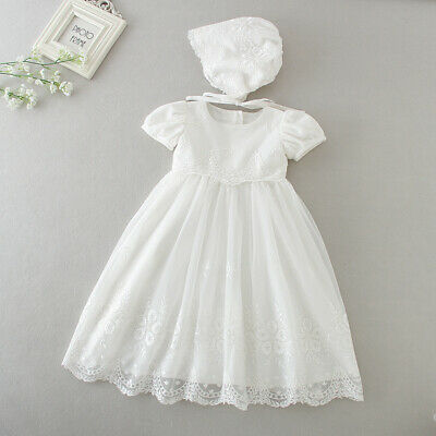 Floral Beaded Lace Christening Gown Tutu Baby Embroidery Baptism Dress Bonnet
