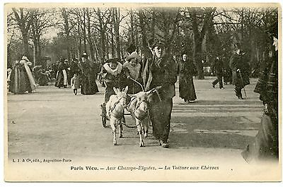 Levering Paris Vécu. Aux Champs-elysées. Voiture Aux Chèvres. Attelage. Hitch Goats. De Mondholte Schoonmaken.