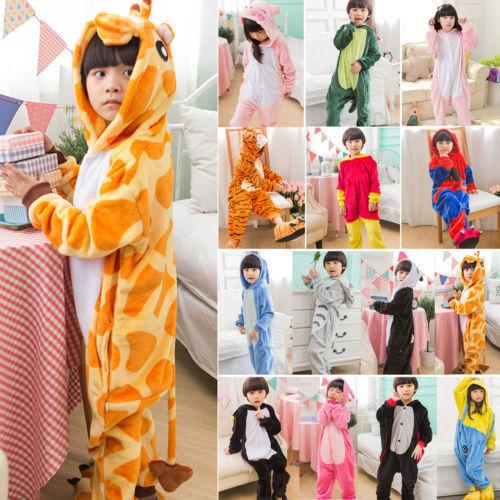 Kids Costume Fancy Dress Cosplay Onsie10 Child Unisex Hooded Animal Pajamas New