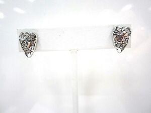 Image Is Loading Retired Brighton Silver Swarovski Crystal Heart Earrings