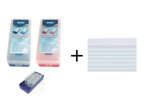 1000 Karteikarten je 1x blau Karteikasten rot DIN A8 2x Lernbox