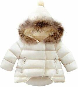 Baby Girls Boys Winter Warm Jacket Hooded Snowsuit, Beige, Size 18-24 Months