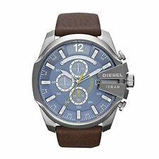 Diesel Men's DZ4281 Mega Chief Chronograph Light Blue Dial Brown Leather Watch
