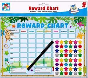 6x-per-bambini-Giungla-comportamento-Reward-Chart-Star-Stickers-Bambini-Asilo-Nido