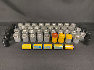 Lot of 37 Vintage Metal Film Roll Canisters Containers Yellow Silver Kodak