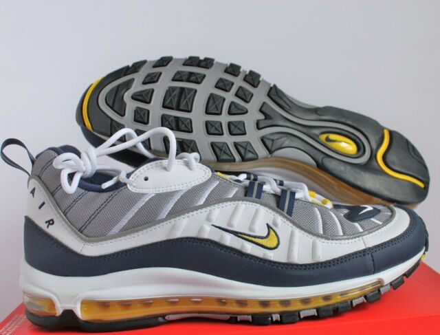 competitive price 8c3a7 aaaac Nike Men Air Max 98 White-Tour Yellow-Midnight Navy sz 14 [640744-105]