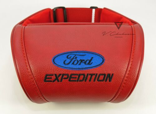 Car Seat Headrest Pillow Neck Rest Cushion Ford Expedition Red Leather