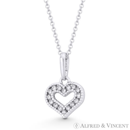 Small Heart Valentine Love Charm CZ Crystal Pave 14k White Gold 12x8mm Pendant