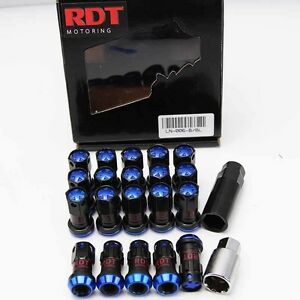 20x STEEL BLK/BLUE 44MM CLOSE END TUNER LUG NUT 12X1.5mm SUCKET & KEY FOR TOYOTA