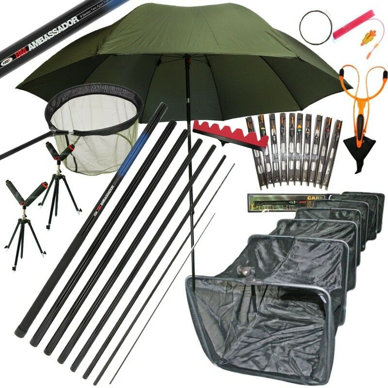 8m Set di pescatori Set Take Aparte autop Fishing Rigs Tripods Rollers Brolly Keepnt.