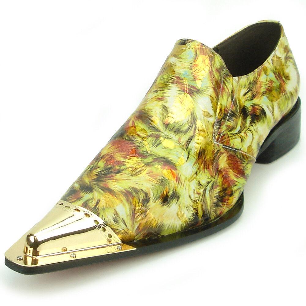 Zapatos De Cuero FI-7277 amarillo oro Con Punta De Metal Fiesso por Aurelio Garcia