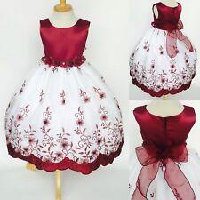 Christmas Embroidery Burgundy Floral Holiday Wedding Flower Girl Dress Fall #11